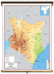 geographical map of kenya kenya physical educational wall map from academia maps