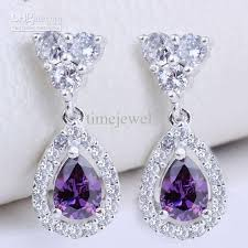 purple earrings earrings pear purple amethyst eh0129 yin dangle piercing pin