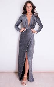 evening maxi dresses saskia plunge v neck wrap evening maxi dress black silver silkfred