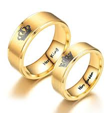 king gold rings images Her king his queen ring gold tone stainless steel jpg