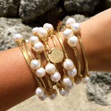 bangle bracelet with pearl images Pretty in pearls monogram charm wire wrapped bangle bracelet i jpg