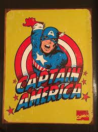 Captain America Decor Captain America Poster Distressed Retro Vintage Tin Sign Home