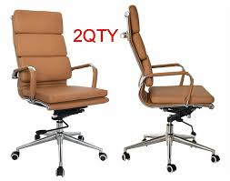 Chair Swivel Mechanism by Eames High Back Office Chair Camel Vegan Leather Thick High