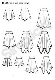 simplicity patterns 1500 misses u0027 skirts with length variations