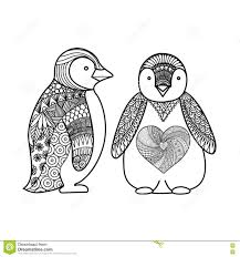 two penguins doodle design for coloring book for t shirt