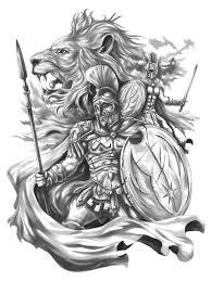 spartans fight upper arm half sleeve tattoo design cris