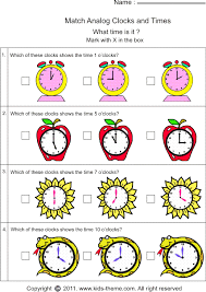time worksheets matching time with clock