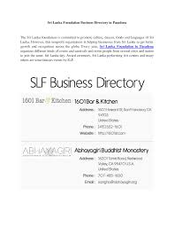 Email Business Directory by Sri Lanka Foundation Business Directory In Pasadena Docsity