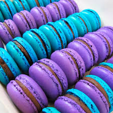 purple and blue chocolate marcarons on we it