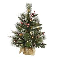 2 foot snow tip tree with pine cones and berries mini lights with