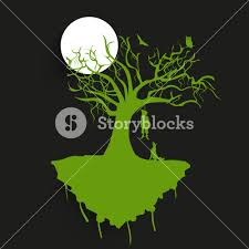 background for halloween banner or background for halloween party night with green