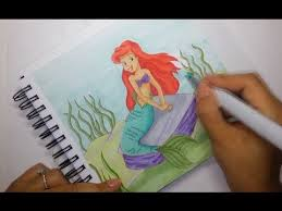 drawing ariel the little mermaid copic markers speed paint youtube