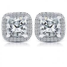 diamond studs earrings 2 69 carat g si1 princess cut pave halo diamond studs earrings 18k