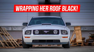 2005 Mustang Gt Black Wrapping Her Mustang Roof Black 2005 Mustang Gt Roof Wrap Youtube