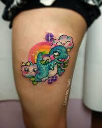 tattoo on leg for women tattoo dinosaur rainbow leg tattoo tattoo for women animals wild