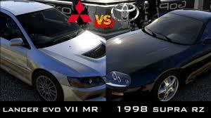 toyota subaru 1998 forza 5 1998 supra rz vs 2004 lancer evo viii mr youtube