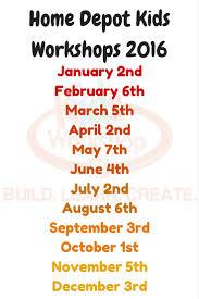home depot free kids workshop 2017 schedule craft