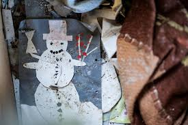 children handmade christmas card in abandoned house stock photo