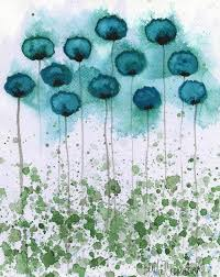 teal flowers watercolor painting watercolor flower painting print
