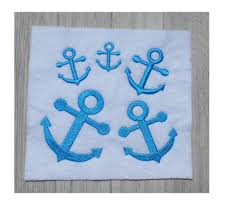mini anchor embroidery design 5 sizes filled stitch digital