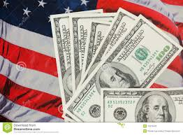 American Flag Backdrop American Currency Against An Usa Flag Backdrop Stock Image