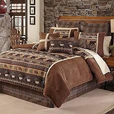 Fish Themed Comforters Amazon Com 4 Piece Brown Cabin Themed Comforter Queen Set Lodge