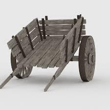 wooden cart 3d asset cgtrader