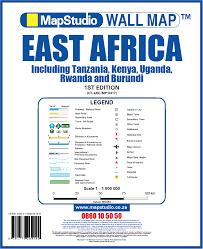 East Africa Map East Africa Wall Map Tanzania Kenya Uganda Rwanda U0026 Burundi