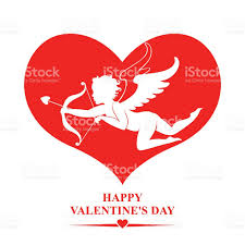 valentines day card with cupid in red heart stock vector art