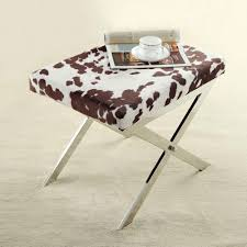 Cowhide Print Homesullivan Richardson Cowhide Print Fabric Vanity Bench