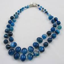 double strand beaded necklace images Blue agate necklace gemstone bead necklace two strand necklace jpg