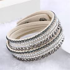 leather wrap bracelet women images Hot sale 2016 new fashion rhinestone leather wrap bracelet crystal jpg