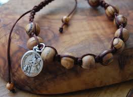 mens rosary st michael mens rosary bracelet one decade olive wood rosary