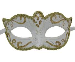 venetian mask white venetian mask with gold highlights