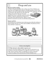 5th grade science worksheets drugs and safety precautions