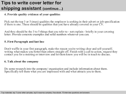cover letter assistant shipping assistant cover letter