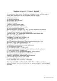 common metaphor examples for kids worksheet free esl printable