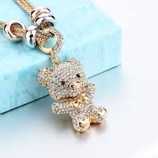 long crystal pendant necklace images Longway gold color long crystal bear pendant necklace for women jpg