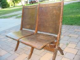 Double Seat Folding Chair Antique Double Folding Wood Theater Chairs Auditorium Old