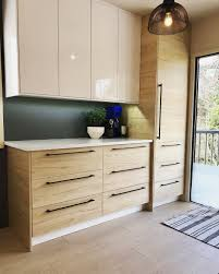 ikea light oak kitchen cabinets taking advantage of wall space with ikea s ringhult high