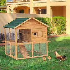 pawhut 135l 114w 130h cm chicken rabbit poultry cage brown pet