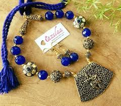 blue beads necklace images Radha krishna pendant necklace set blue beads jewellery set at jpg