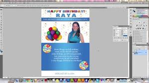 Size Of A Invitation Card Designing A Birthday Card In Photoshop Youtube