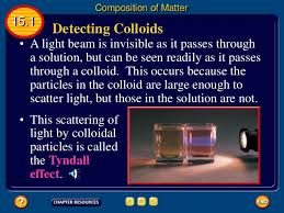 the scattering of light by colloids is called classification of matter