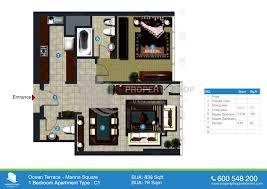 bedroom floorplan floor plans ocean terrace marina square al reem island