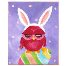 whimsical owl painting owl bunny 8x10 home decor wall art easter