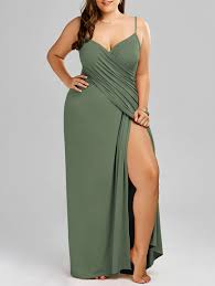 plus size maxi flowy beach cover up wrap dress in army green 3xl