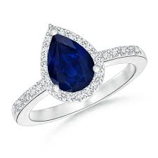 sapphire engagement rings pear shaped sapphire engagement ring with halo angara