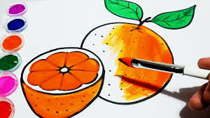 how to draw orange coloring pages fruit for kids learn colours for
