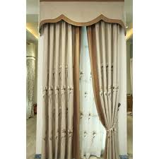 Linen Valance Taupe Floral Jacquard Linen Cotton Blend Country Custom Curtains